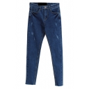 Dark Blue Denim Rae Edge Distressed Pencil Jeans