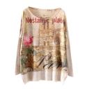 Nostalgic City&Rose Print Loose Sweater