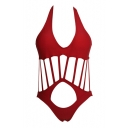 Red Plain Halter Bow Cutout Front Bikini