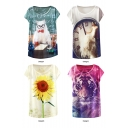 Animal Floral Character Print Round Neck Tee in Loose Fit