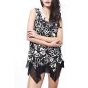 Black Background Rose Print Mini Column Dress with Asymmetric Hem