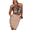 Leopard Print Halter Open Back Fitted Mini Dress