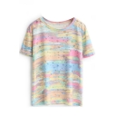 Rainbow Print Round Neck Short Sleeve Tee