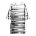 Geo-Tribal Pattern Print Mono Modern Style 3/4 Sleeve Dress