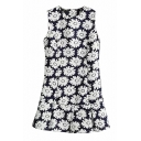 All Over White Daisy Print Dark Blue Background Sleeveless Pleated Hem Dress