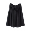 Black Pleated Round Neck Sleeveless Round Neck Blouse