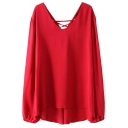 Red Long Sleeve V-Neck String-UP Back Blouse