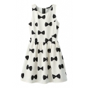 Bow Print Round Neck Sleeveless Pleated Dress