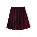 Burgundy Plain Velvet Ruffle Hem Skirt