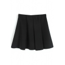 Black Pleated Ruffle Hem A-Line Skirt