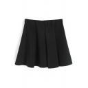 Black Pleated Ruffle Hem A-Line Skirt