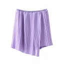 Purple Plain Mini Skirt with Asymmetrical Hem