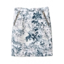 Water Color Floral Double Zip Tube Skirt