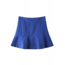 Blue Simple High Waist A-Line Mini Skirt