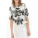 White 1/2 Sleeve Black Flower Blouse