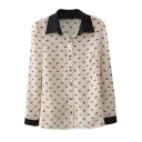 White Long Sleeve Dog Polka Dot Print Blouse