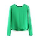 Green Long Sleeve Chiffon Blouse