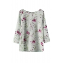 Floral Print Round Neck 3/4 Sleeve Split Top