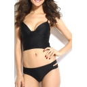 Black Adjustable Straps Loop Side Bikini Set