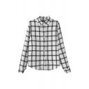 Mono Plaid Print Long Sleeve Casual Shirt