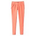 Pink Simple Skinny Pencil Pants