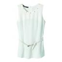 White Rivet Sleeveless Belted Chiffon Top