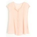 Pink Round Neck Sleeveless Chiffon Blouse