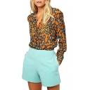 Orange Leopard Print Long Sleeve Shirt