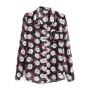 Mouth Print Long Sleeve Pocket Chiffon Shirt