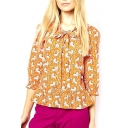 Orange Lion Print Knotted 3/4 Sleeve Ruffled Hem Blouse