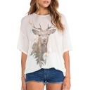 White 1/2 Sleeve 3D Deer Loose T-Shirt