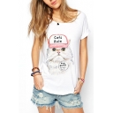 White Boat Neck Raglan Short Sleeve Cat Letter Print T-Shirt