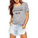 Gray Short Sleeve 1892 Letters T-Shirt