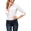 White Unique Button Fly Shirt