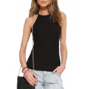Plain Halter Casual Fitted Cami