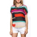 Multi Color Stripe Panel Short Sleeve Chiffon Blouse