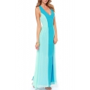 Color Block Chiffon V-Neck Cross Back Maxi Dress