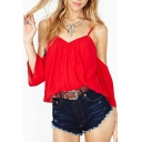 Red Plain Cold Shoulder Open Back Chiffon Top