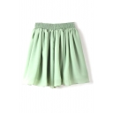 Green Tea Double Layer Chiffon Pleated Mini Skirt