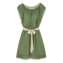 Plain Chiffon Ruffled Sleeve Bow Waist Dress