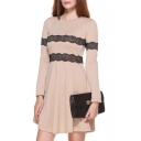 Lace Trimmed Round Neck Long Sleeve Flared Dress