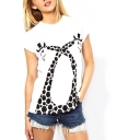 White Short Sleeve Double Giraffe Print T-Shirt
