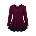 Red Round Neck Long Sleeve Pleated Dress