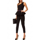 Black One Shoulder Sleeveless Ruffle Hem Belted Jumpsuits