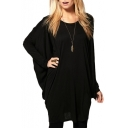 Black Long Bat Sleeve Round Neck Tunic T-Shirt