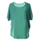 Green Plain Short Sleeve Pocket Front Chiffon Blouse