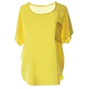 Yellow Short Sleeve Pocket Front Chiffon Blouse
