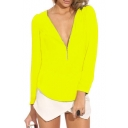 Yellow Long Sleeve Zippered V-Neck Chiffon Blouse