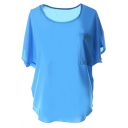 Short Sleeve Pocket Front Chiffon Blouse
