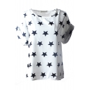 White Short Sleeve Stars Print Chiffon T-Shirt
